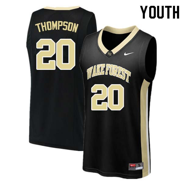 Youth #20 Terrence Thompson Wake Forest Demon Deacons College Basketball Jerseys Sale-Black